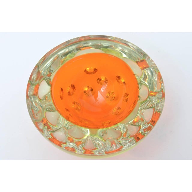 Rare Italian Murano Sommerso Dimpled Geode Glass Bowl - Image 5 of 9