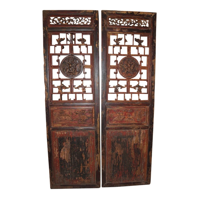 Antique Chinese Door Panels Wall Decor - A Pair - Antique Chinese Door Panels Wall Decor - A Pair Chairish