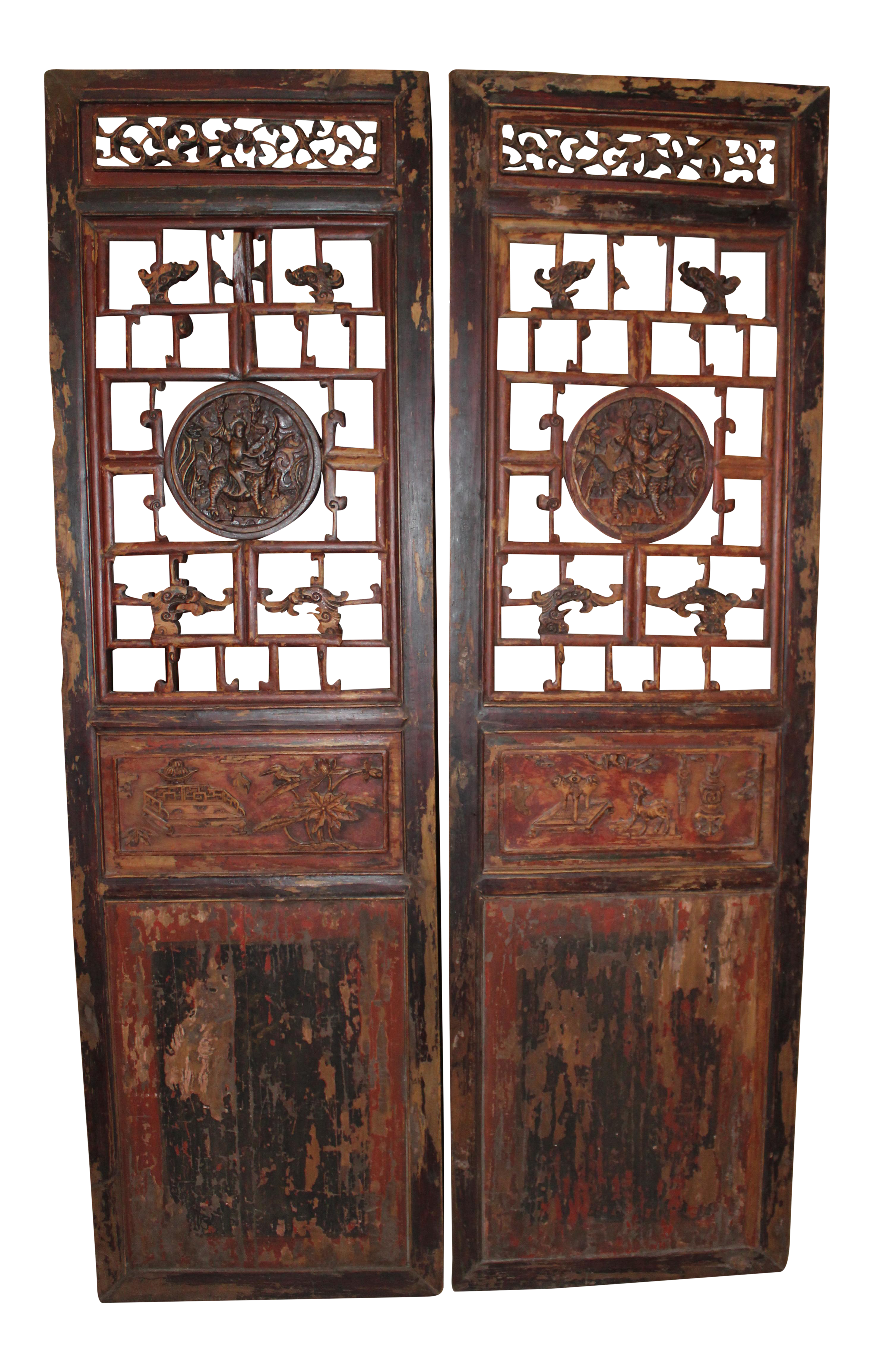Antique Chinese Door Panels Wall Decor   A Pair