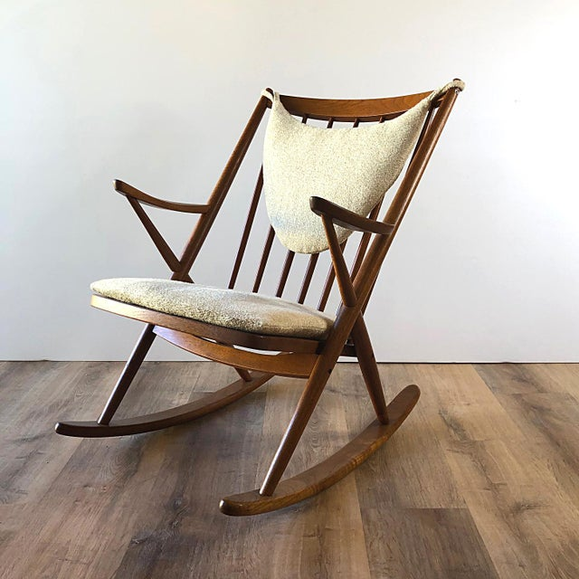 Newly-Upholstered Frank Reenskaug Teak Rocking Chair for Bramin For Sale - Image 11 of 11
