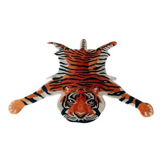 Contemporary Turkish Hand-Tufted Tiger Rug-3′ × 5′ For Sale