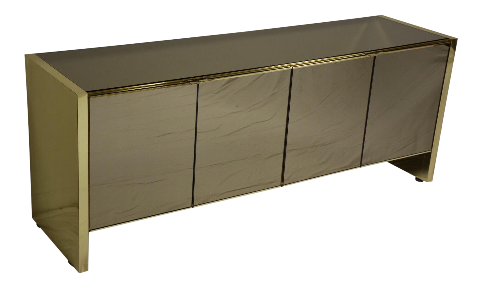 Delicieux Ello Modern Brass And Glass Credenza