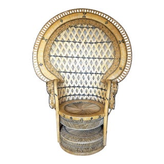 Bohemian Chic Woven Rattan Peacock Chair For Sale