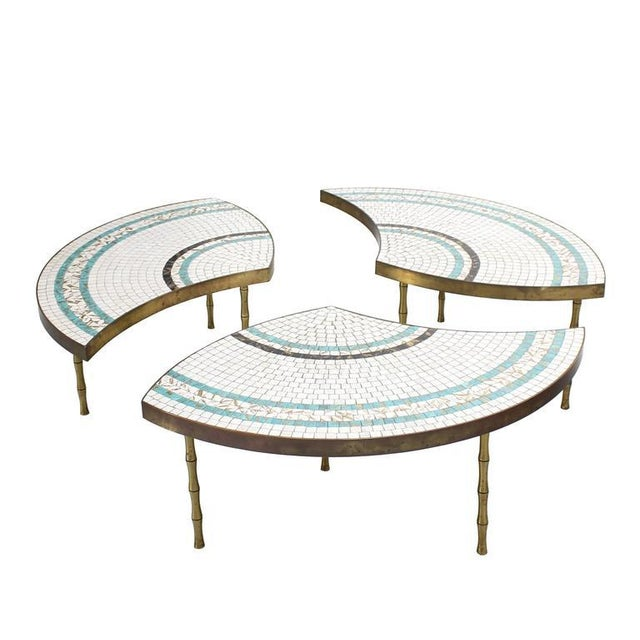 Mid-Century Modern Three-Part Bronze and Mosaic Round Coffee Table For Sale - Image 3 of 9