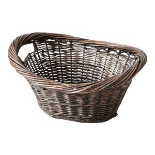 Antique Wicker Laundry Basket For Sale