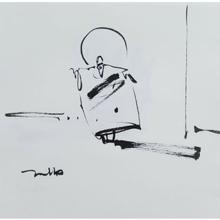 Contemporary Minimalist Figurative Ink Drawing of a Saint by Jose Trujillo For Sale