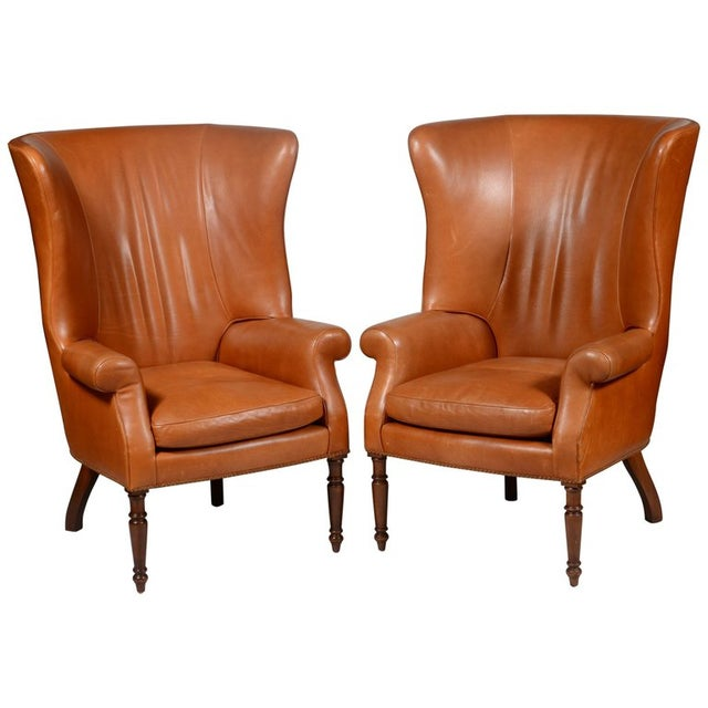 Leather Pair of Classic High Back Saddle Leather Wing Back Fireplace or Parlour Chairs For Sale - Image 7 of 7