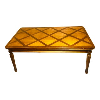 Large Walnut French Parquet Extending Dining Table With Reeded Table Legs For Sale