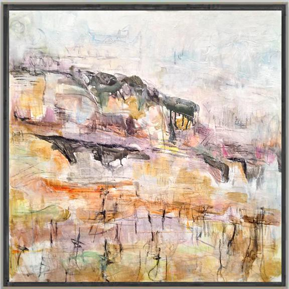"""Abstract """"Winter Vineyard"""" by Trixie Pitts Large Abstract Oil Painting For Sale - Image 3 of 10"""