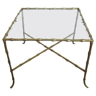 Midcentury Brass 'Bamboo' and Glass Side or End Table For Sale