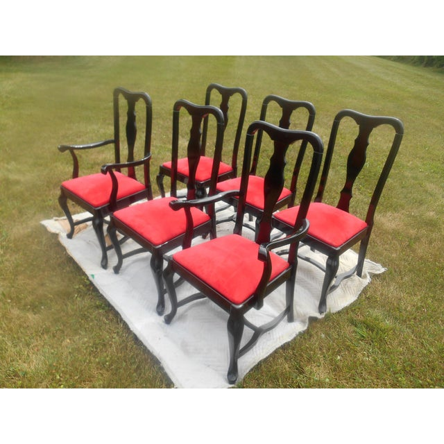 Sculptural Black Lacquer & Red Suede Italian Dining Chairs-Set of 6 For Sale - Image 4 of 9