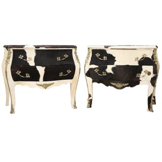 20th Century Italian Design Louis XV Style Pair of Chest, Commode in Pony Hair For Sale