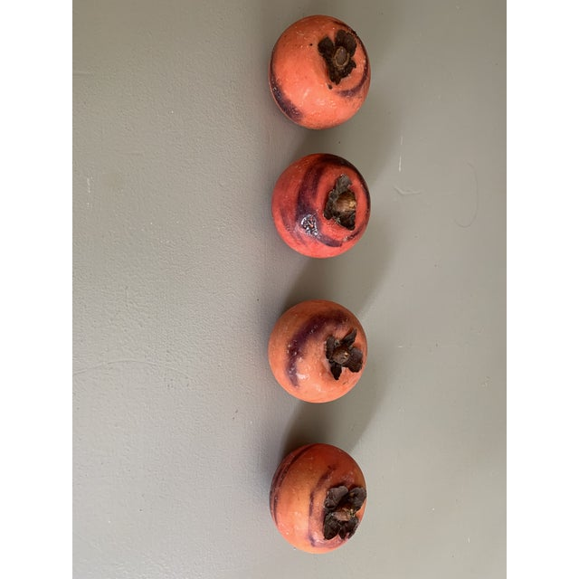 Italian Vintage Italian Marble Stone Fruit - Persimmon - Set of 4 For Sale - Image 3 of 9