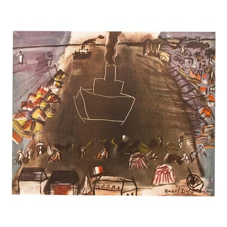 """1954 Raoul Dufy, """"Black Freighter 2"""" First Edition Lithograph For Sale"""