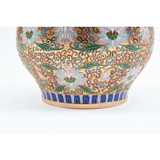Covered Decorative Gilded Cloisonne Urn For Sale - Image 4 of 10