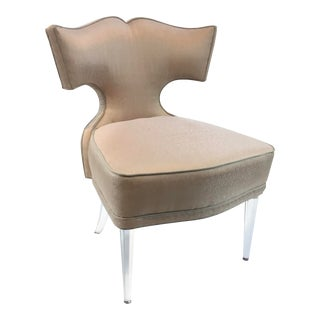 Caracole Couture Modern Blush Upholstered Acrylic Accent Chair/Vanity Chair For Sale