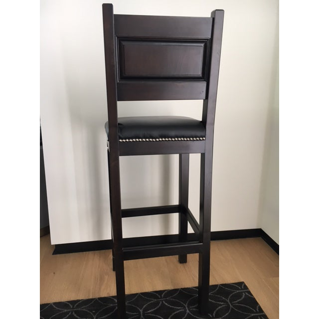 Black Leather & Wood Bar Stools with Nailheads - Set of 3 For Sale - Image 5 of 6