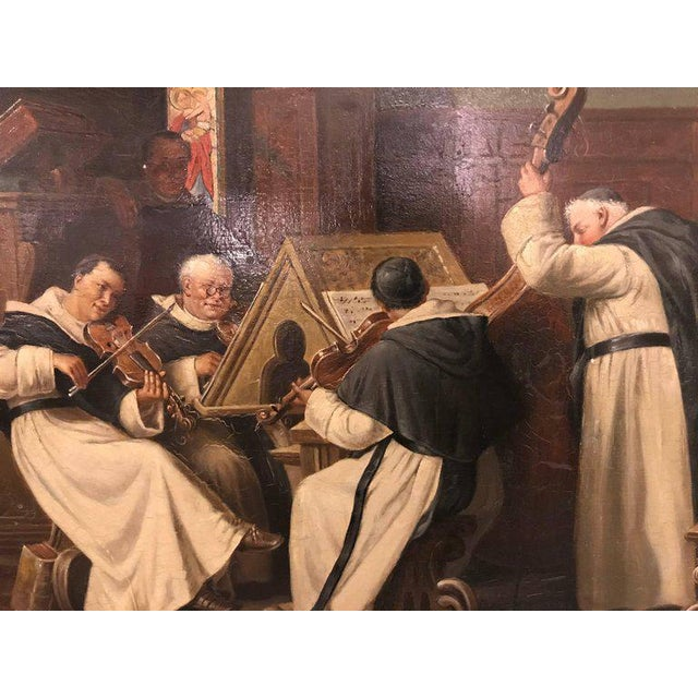 A Late 19th Early 20th Century Oil Painting Of A Group Of Monks On Board. Wonderfully detained. Measurement without frame:...