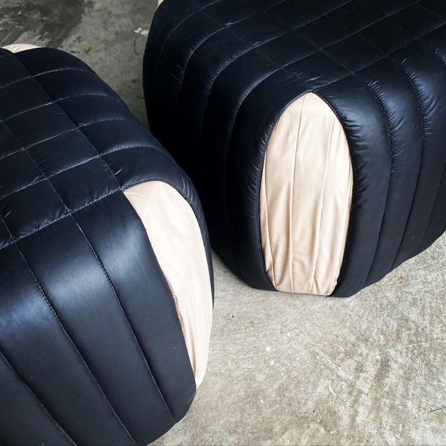 1980s Poufs Upholstered Ottomans - a Pair For Sale In Miami - Image 6 of 8