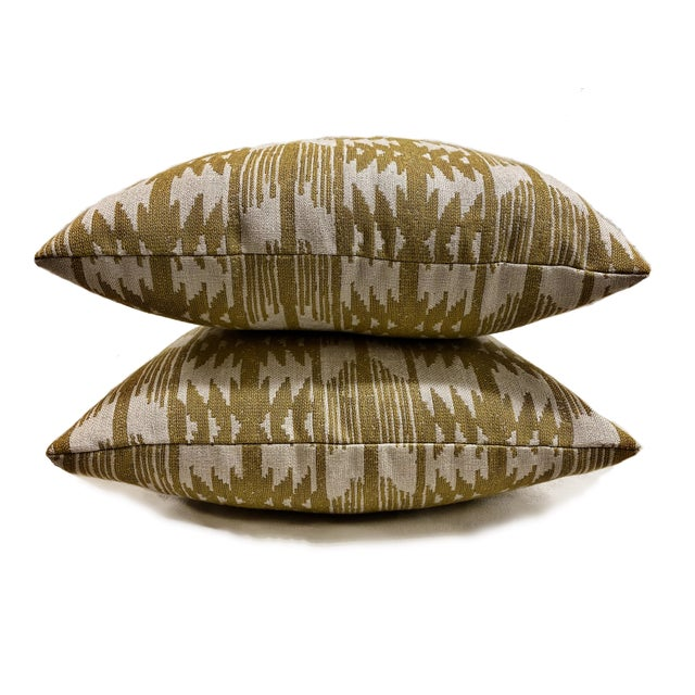 2020s Southwest Sunbrella Mustard Yellow and White Outdoor Pillows - a Pair For Sale - Image 5 of 5