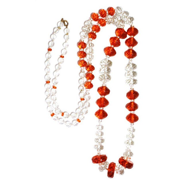 1930s 1930s Deco-Era Orange Faceted Glass Long Necklace For Sale - Image 5 of 6