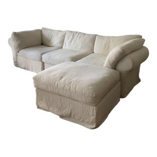 Pottery Barn White Upholstered Air Sectional Sofa For Sale