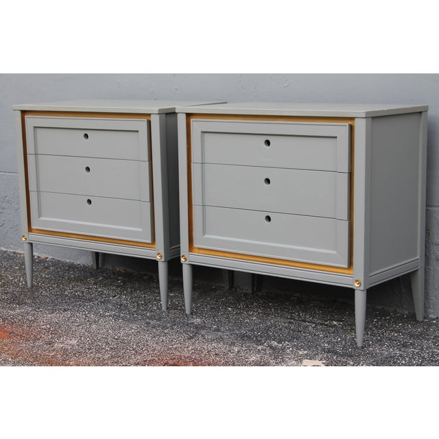 1960s Slate Blue & Gilt Accent Bachelor's Chests - A Pair For Sale - Image 4 of 10