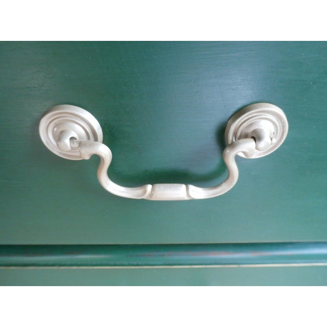 Green Vintage Hand-Painted Highboy Chest Dresser For Sale - Image 8 of 11