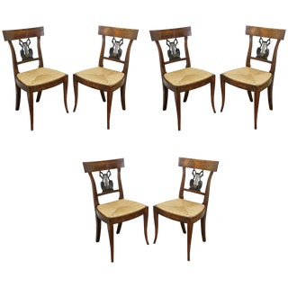 Set of Six Italian Neoclassic Walnut and Ebonized Dining Chairs For Sale