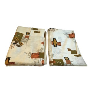 Mid Century Modern Drapery - A Pair For Sale