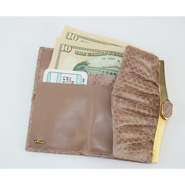 Judith Leiber Taupe Snakeskin Wallet For Sale - Image 10 of 13