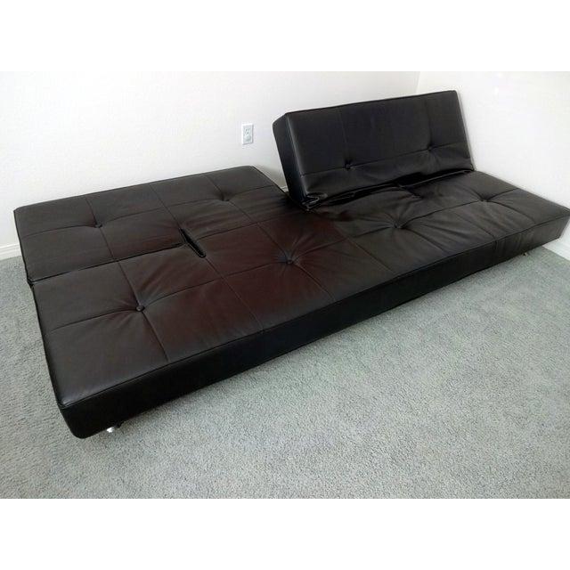 Edra Damier Italian Black Leather Sofa - Image 3 of 11