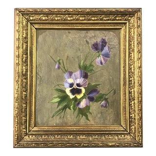 19th Century Study of Pansies Oil Painting, Framed For Sale
