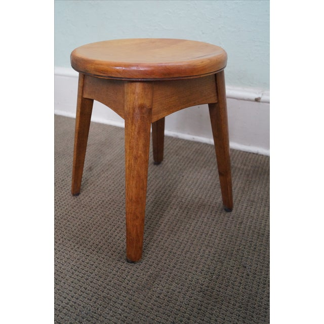 Vintage Solid Maple Stools Benches - Set of 5 - Image 9 of 9