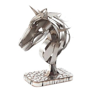 Phillips Collection Horse Head Stainless Sculpture For Sale