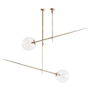 Pair of Hasta Brass Hanging Lamps, Jan Garncarek For Sale