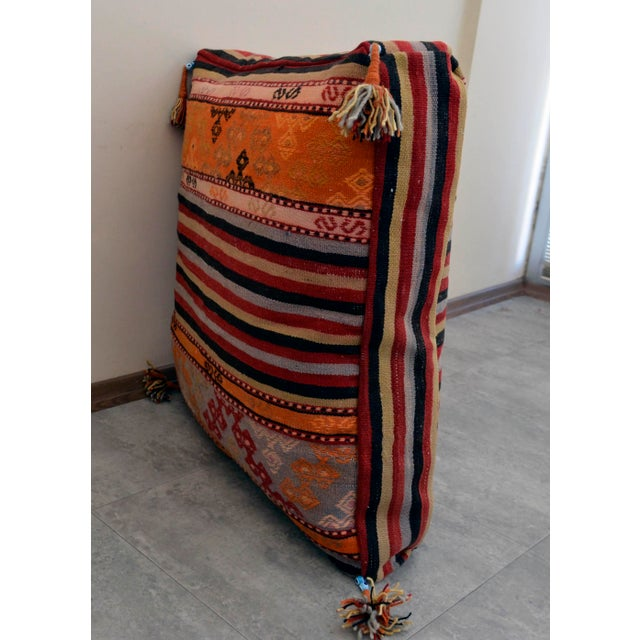 Turkish Hand Woven Floor Cushion Cover - 29″ X 29″ - Image 7 of 10