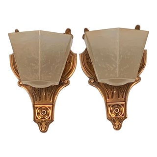 1930s Tudor Revival or Art Deco Wall Sconces - a Pair For Sale