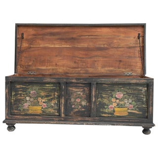Hand Pianted Wooden Trunk For Sale