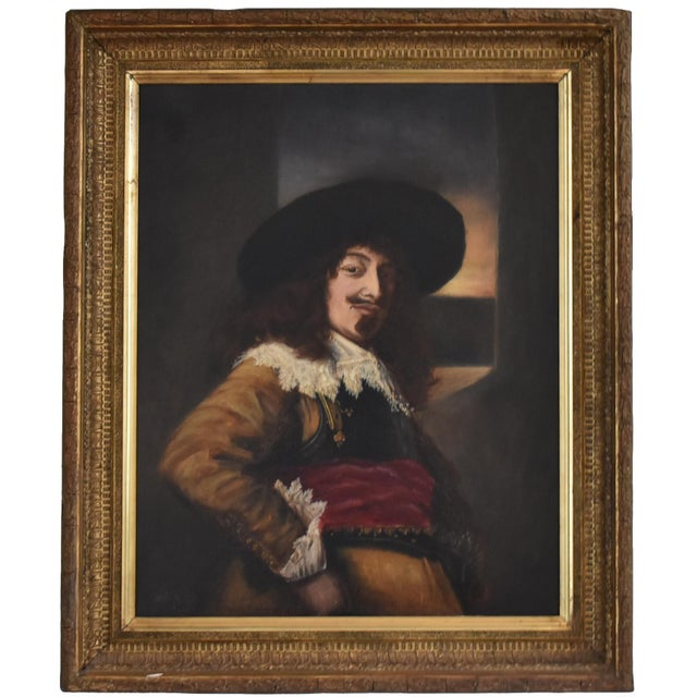 Antique 19th-Century Oil Painting After Frans Hals - Portrait of an Officer For Sale - Image 9 of 10