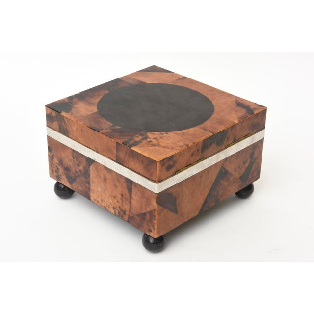 Maitland Smith Tessellated Tortoise Shell, Wood and Chrome Hinged Box For Sale - Image 10 of 10