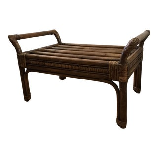1970s Americana Boho Bamboo Accent Bench For Sale