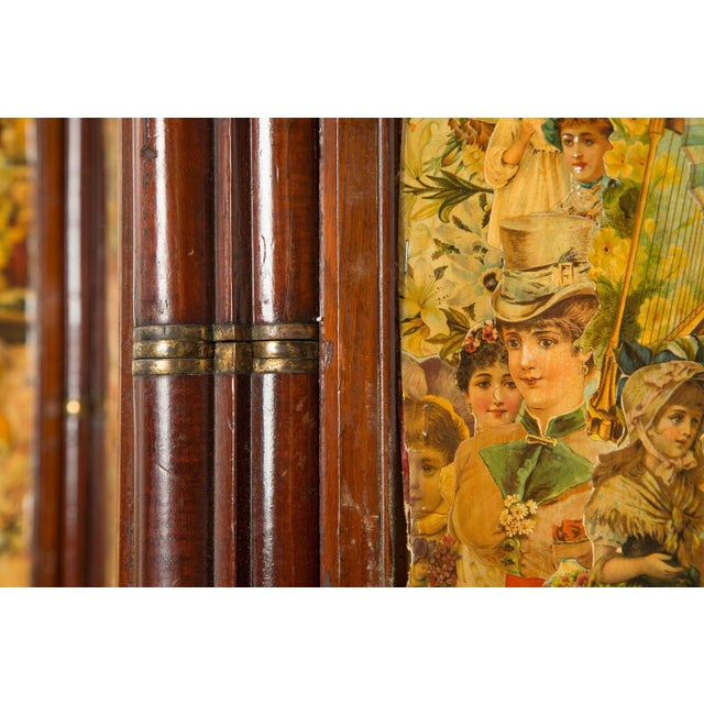3-Paneled Victorian Decoupaged Room Divider Screen - Image 2 of 7