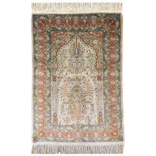 Turkish Hereke Hand-Knotted Silk Rug For Sale