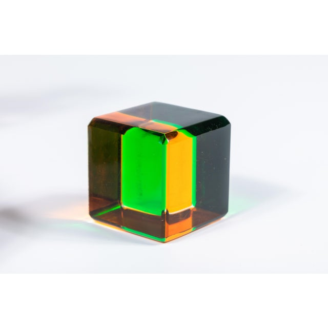 Lucite Set of 10 Colored Lucite Cubes by Vasa Mihich For Sale - Image 7 of 8