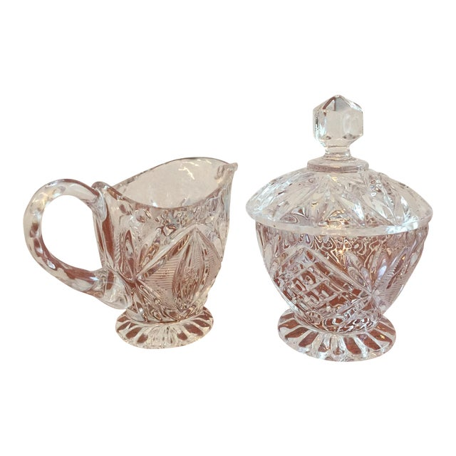 Vintage Cut Glass Cream & Sugar Set with Lid For Sale