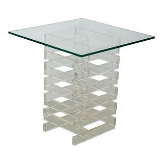 Mid-Century Glass Top Occasional Table With Lucite Base For Sale