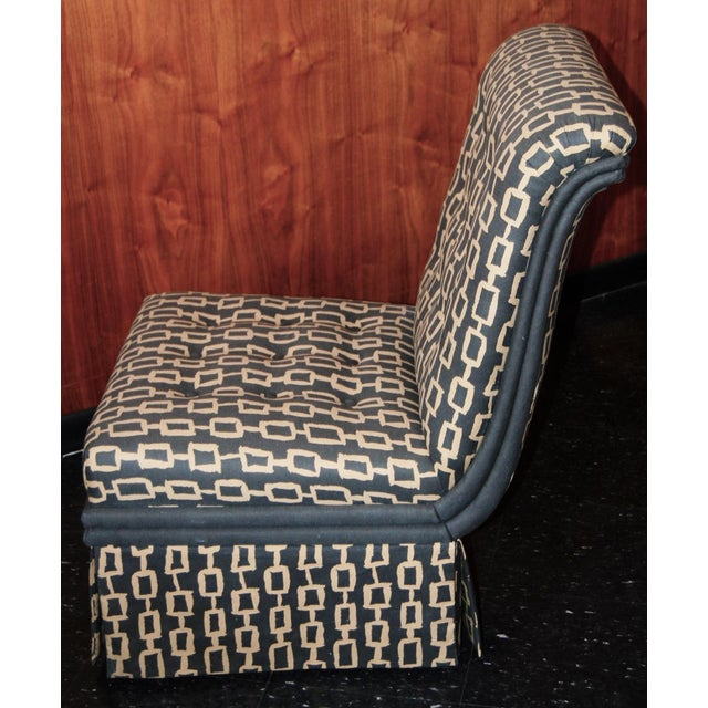 Vintage slipper chairs with custom designed fabric by Candice Held, well known clothes and textile designer. In the style...