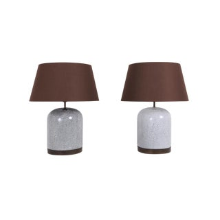 Post-Modern Pair of Black & White Speckled Ceramic Lamps With Brown Shades For Sale