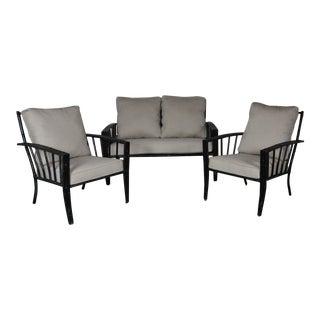 1970s Vintage Faux-Bamboo Aluminum Sofa Set- 3 Pieces For Sale